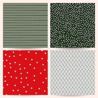Collectie met abstract geometrisch kerst naadloos patroon voor inpakpapier voor uitnodigingen van stof
