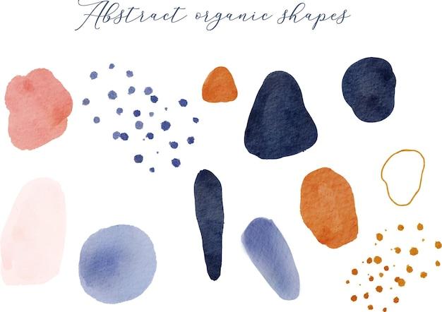 Collectie met abstracte aquarel organische vormen penseelstreek polka dot hand getrokken element