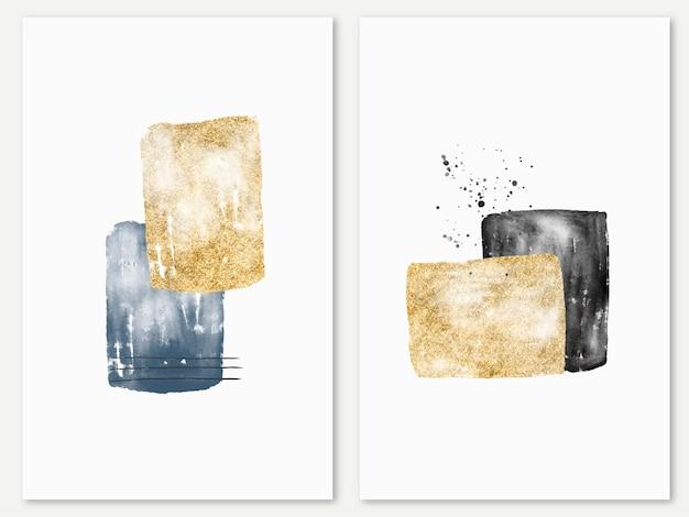 Collectie met abstracte minimale aquarel en gouden collage