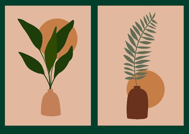 Collectie met boho tropische poster in trendy minimalistische stijl modern abstract wanddecor