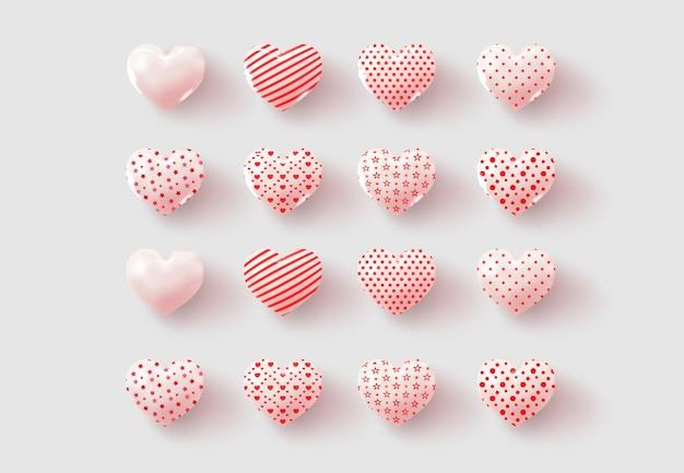 Collectie met glanzende en matte harten