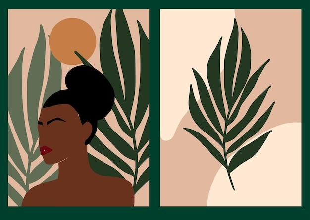 Collectie met minimale boho-posters abstracte vrouwensilhouetten en exotische bladeren