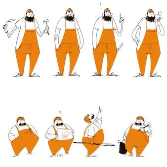 Collectie met schattige stripfiguren met werkkleding