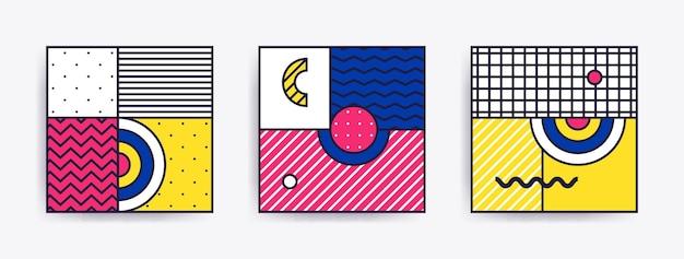 Collectie met trendy achtergronden eenvoudige badges met posterpatches in een mix van neo memphis pop-artstijl