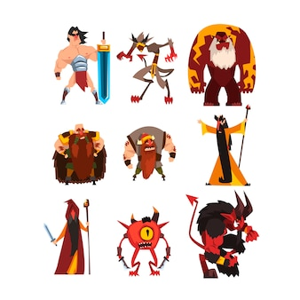 Collectie met verschillende personages uit fantasiespellen