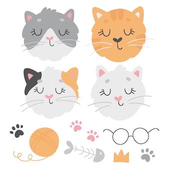 Collectie met verschillende schattige katten, voetafdrukken, glazen, kroon, visgraat, schoothoek