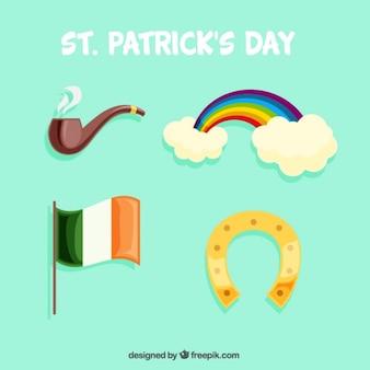 Collectie met vier objecten voor st. patrick's day
