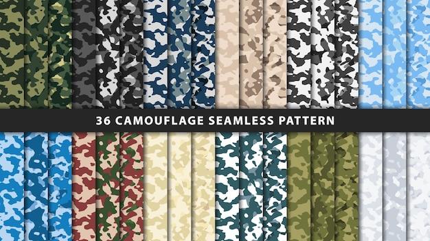 Collectie militair en leger camouflage naadloos patroon