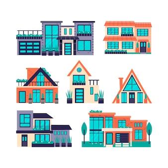 Collectie moderne huizen geïllustreerd