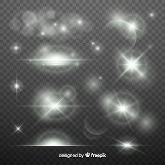 Collectie monochroom lichteffecten
