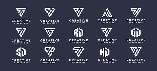 Collectie monogram eerste logo-ontwerp voor persoonlijk merk, bedrijf, bedrijf.