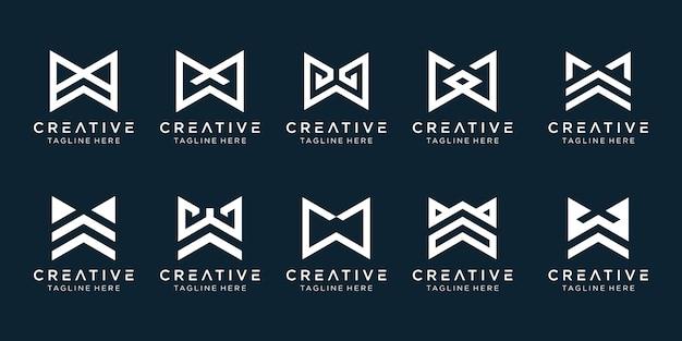 Collectie monogram initialen w logo sjabloon. pictogrammen voor zaken van mode, sport, technologie, eenvoudig.