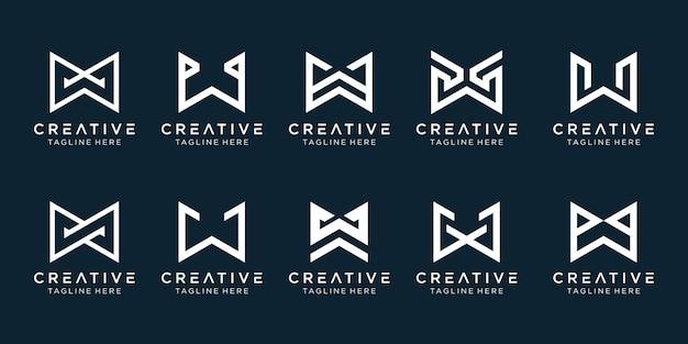 Collectie monogram initialen w logo sjabloon. Premium Vector