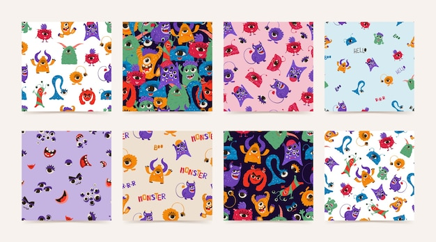 Collectie naadloze patroon met grappige monsters in cartoon stijl