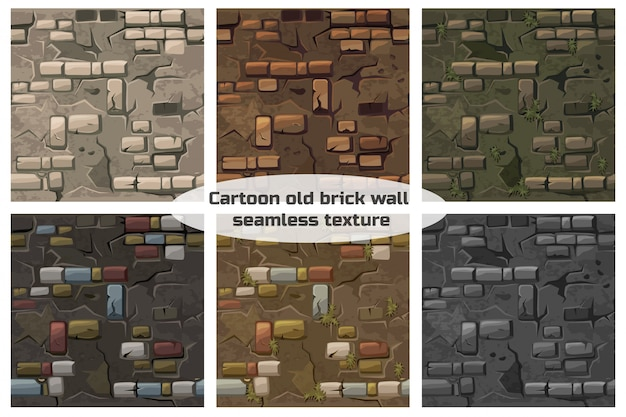 Collectie naadloze patroon textuur oude barst bakstenen muur