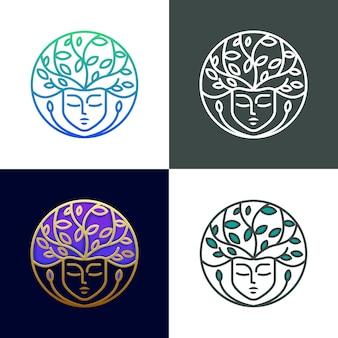 Collectie nature beauty logo sjabloon