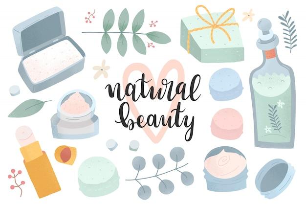 Collectie natuurlijke cosmetica, duurzame schoonheidsproducten