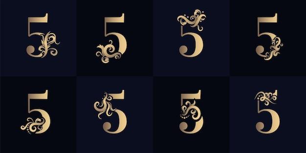 Collectie nummer 5 logo met luxe ornamentontwerp