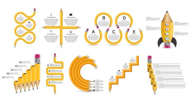 Collectie onderwijs infographics sjabloon.