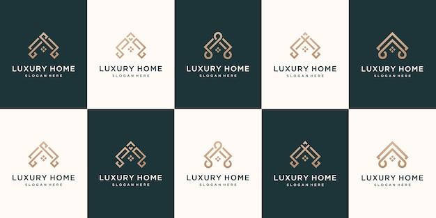 Collectie onroerend goed minimalistische huis lineaire pictogramstijl instellen