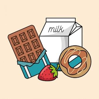Collectie ontbijt chocolade aardbei donut en melk