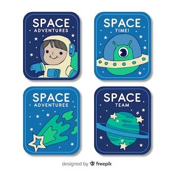 Collectie op ruimtesticker in plat ontwerp