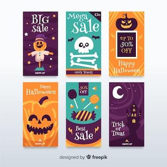 Collectie op schattige halloween instagram-verhalen