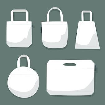 Collectie platte stoffen tassen