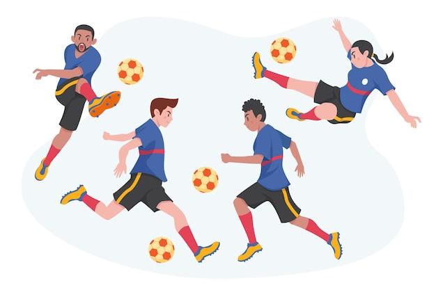 Collectie platte voetballers