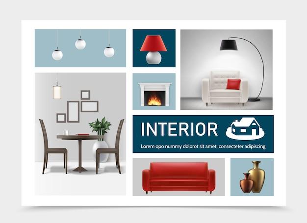 Collectie realistische klassieke interieurelementen met plafond vloerlampen nachtlampje fauteuil bank keramische vazen tafel en stoelen in woonkamer open haard