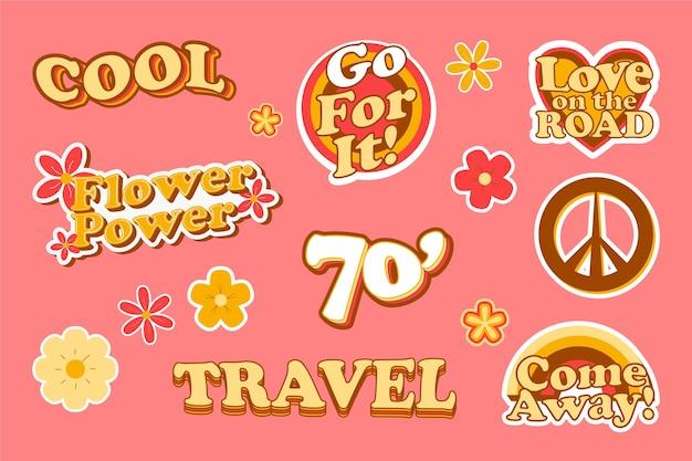 Collectie reisstickers in de stijl van de jaren 70