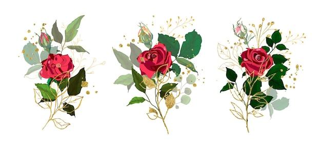 Collectie rozen met bladeren