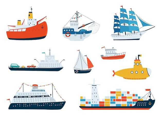 Collectie schepen in een vlakke stijl. vervoer over water, zeilboot, onderzeeër, ijsbreker, vissersboot