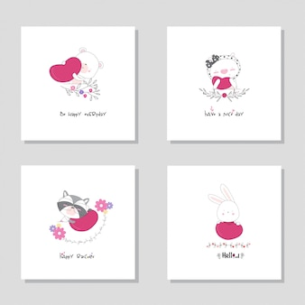 Collectie set dierlijk cartoon dier. draag de hand getrokken illustratie van het varkenswasbeerkonijntje