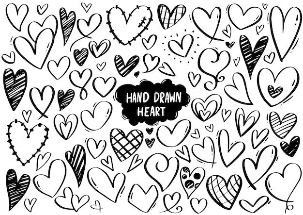 Collectie set hand getrokken krabbel hart