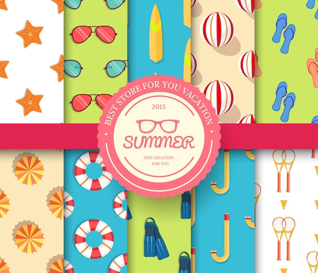 Collectie set zomervakantie naadloze patroon