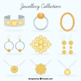 Collectie sieraden in plat design
