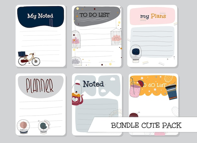 Collectie sjabloon om lijst platte ontwerpset te doen
