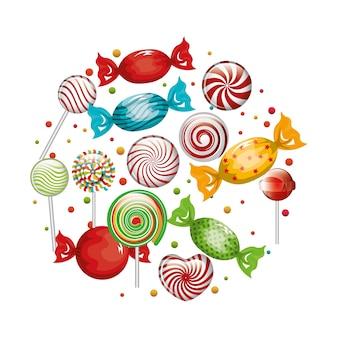 Collectie snoepjes lollipop ontwerp