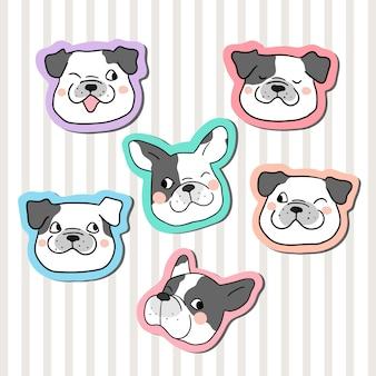 Collectie sticker hoofd van pug dog doodle cartoon stijl