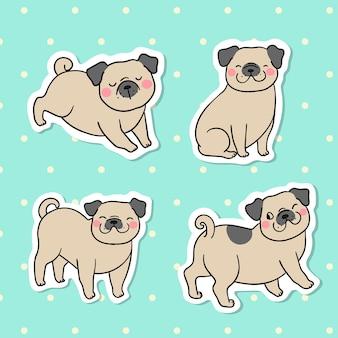 Collectie sticker van pug hond op groene pastel