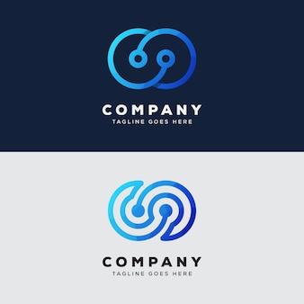 Collectie technologie oneindig logo ontwerp premium vector