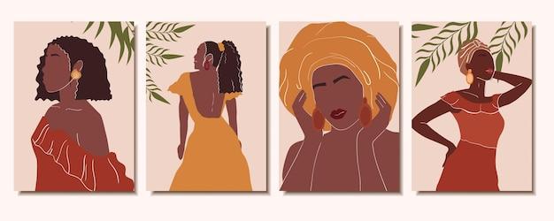 Collectie trendy abstracte posters met afrikaanse vrouwen moderne kunst