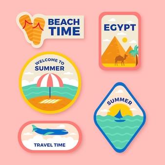 Collectie vakantiestickers in jaren 70-stijl