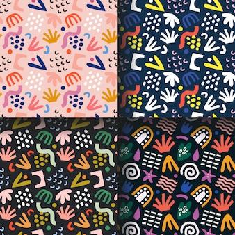Collectie van abstracte tropische patronen