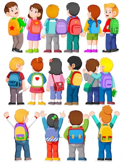 Collectie van achteraanzicht illustratie van student draagt rugzakken