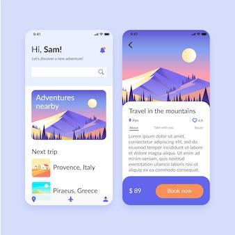 Collectie van app-schermen voor het boeken van reizen