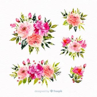 Collectie van aquarel bloemen boeket