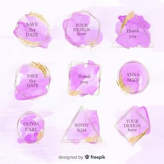 Collectie van aquarel bruiloft badges