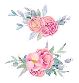 Collectie van aquarel geïsoleerde boeketten van roze mooie rozen, pioenrozen, decoratieve bessen, groene bladeren en takken